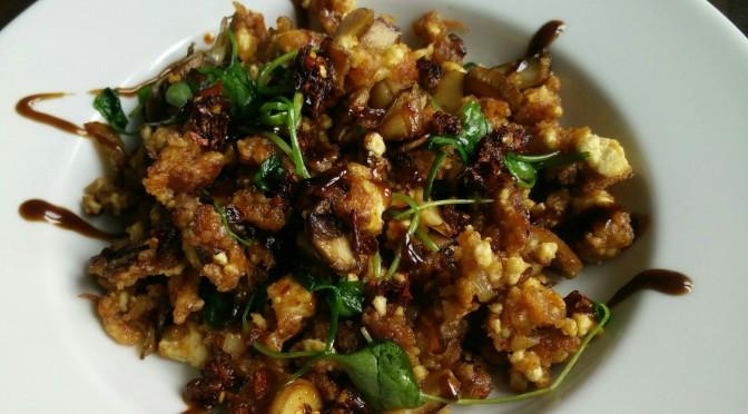 Shredded Tofu mit Kimchi Batter